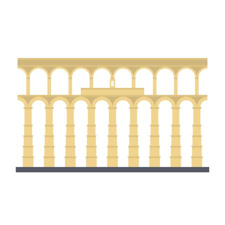 Acueducto de Segovia, España, icono de vector de diseño plano