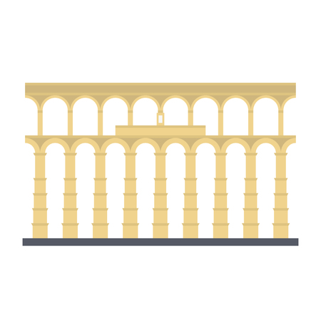 Aqueduct of Segovia, Spain, flat design vector icon