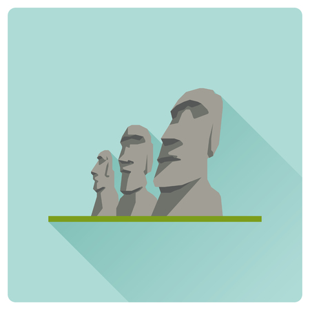 Flat design long shadow vector icon of Moai heads, Easter Islands, Chile Stock Vector - 124925993