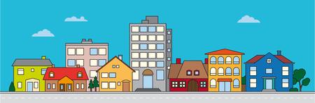 Illustrazione vettoriale colorato di quartiere di piccola città Vettoriali