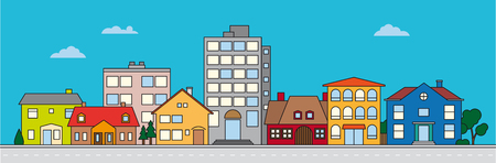 Small town neighborhood colorful vector illustration