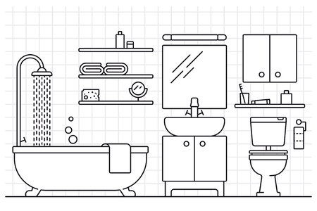 Bathroom interior line art vector illustration with tiled wall Illustration