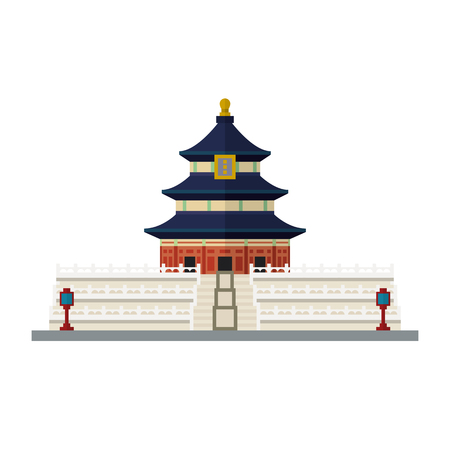Flat design isolated vector icon of Temple of Heaven at Beijing, China