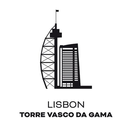 Vasco da Gama Tower at Lisbon, Portugal, silhouette vector illustration Illusztráció