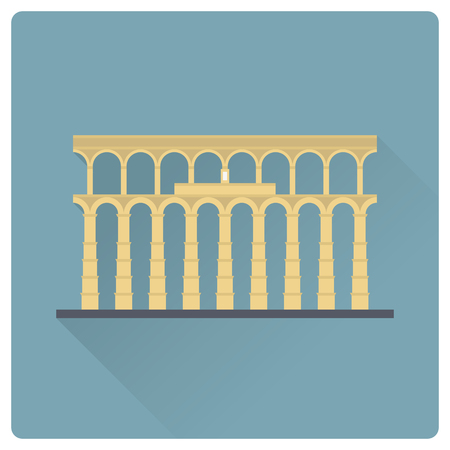 Aqueduct of Segovia, Spain, flat design long shadow vector icon