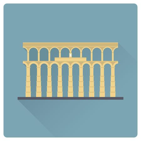Aqueduct of Segovia, Spain, flat design long shadow vector icon
