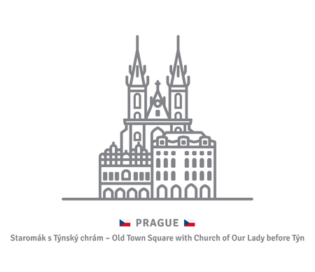 Czechia landmark line icon. Houses at Old Town Square and Church of Our Lady Before Tyn at  Prague and Czech flag vector illustration.