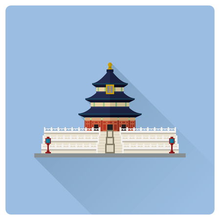 Flat design long shadow vector icon of Temple of Heaven at Beijing, China