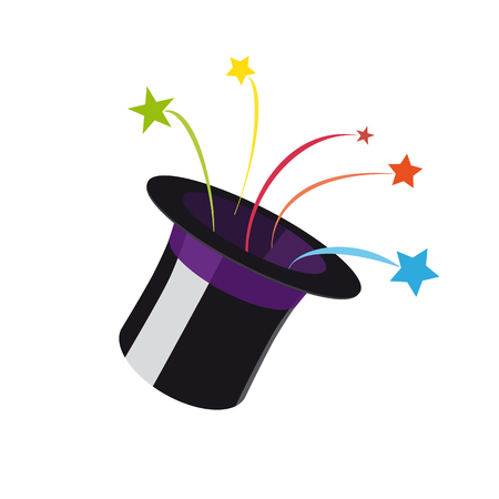 Stars coming from Magic Hat vector illustration