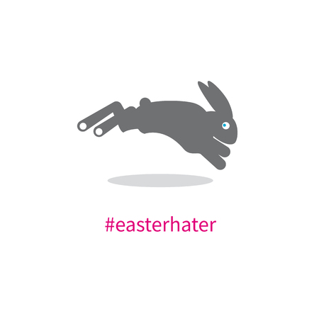 Easter hater concept - Easter bunny on the run vector illustration Illustration
