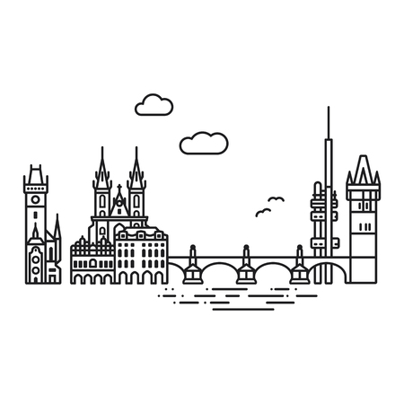 Line Icon style Prague cityscape and landmarks flat vector illustration