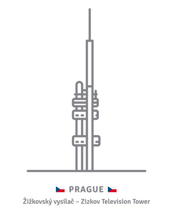 Czechia landmark line icon. Zizkov television tower and Czech flag vector illustration. Vectores