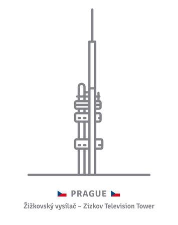 Czechia landmark line icon. Zizkov television tower and Czech flag vector illustration. Stock Illustratie