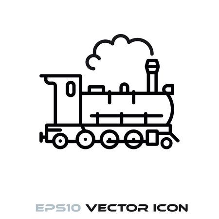 Steam locomotive flat line icon vector illustration Ilustracja