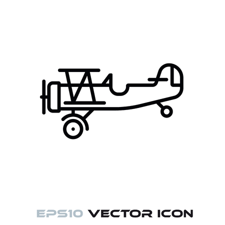 Vintage biplane flat line icon vector illustration Ilustrace