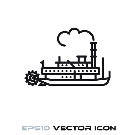Vintage steamboat flat line icon vector illustration Çizim