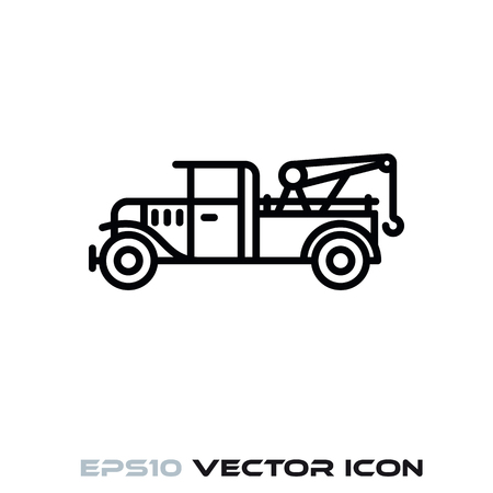 Vintage tow truck flat line icon vector illustration