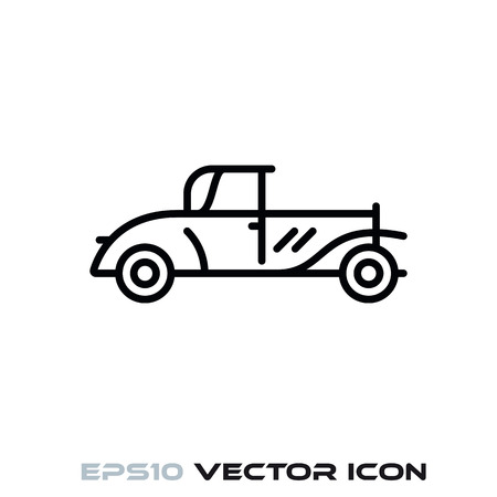 Vintage car flat line icon vector illustration