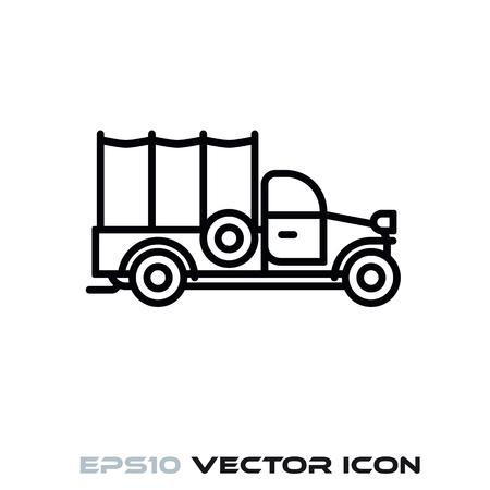 Vintagepickup truck flat line icon vector illustration