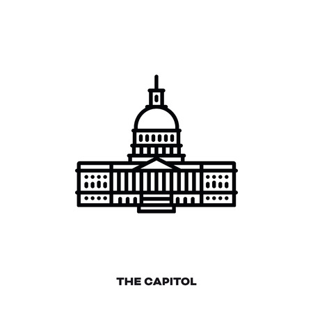 The Capitol, Congress building at Washington, D.C., United States of America, vector line icon. International landmark and tourism symbol.