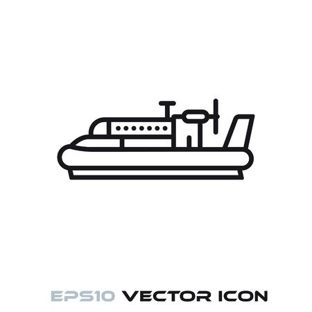 Vintage hovercraft flat line icon vector illustration