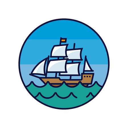 Old sail ship on the sea, color filled  circular line icon vector illustration Vettoriali