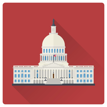 Das Kapitol in Washington, DC, USA, flaches Design, lange Schattenvektorillustration Vektorgrafik