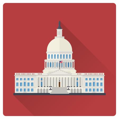 El edificio del Capitolio en Washington, DC, EE. UU., Ilustración de vector de larga sombra de diseño plano Ilustración de vector
