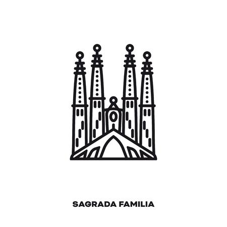 Sagrada Familia Cathedral at Barcelona, Spain, vector line icon. International landmark and tourism symbol.