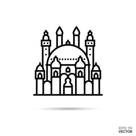 Fantasy palace flat line icon. Fairy tale castle vector illustration. Illusztráció