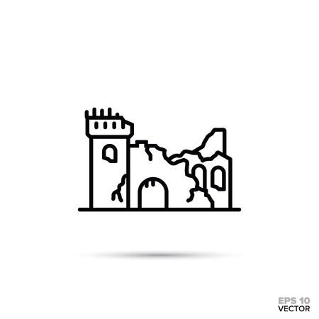 Icona della linea piatta del castello di fantasia in rovina. Illustrazione di vettore delle rovine della fortezza di fiaba. Vettoriali