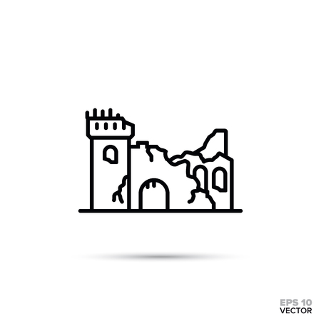 Ruined fantasy castle flat line icon. Fairy tale fortress ruins vector illustration. Çizim