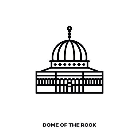 Cupola della roccia a Gerusalemme, Israele, icona della linea del vettore. Punto di riferimento internazionale e simbolo del turismo.
