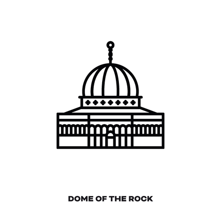 Dome of the rock at Jerusalem, Israel, vector line icon. International landmark and tourism symbol.
