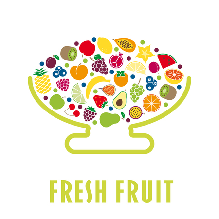Stylised bowl with a variety of fruit flat vector illustration