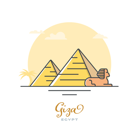 Pyramids and Sphinx at Giza, Egypt, flat vector illustration. Tourism and travel icon. Illustration