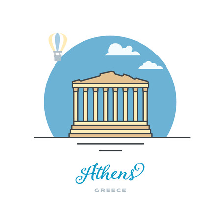 Parthenon temple at Acropolis, Athens, Greece, flat vector illustration. Tourism and travel icon. Reklamní fotografie - 120508837