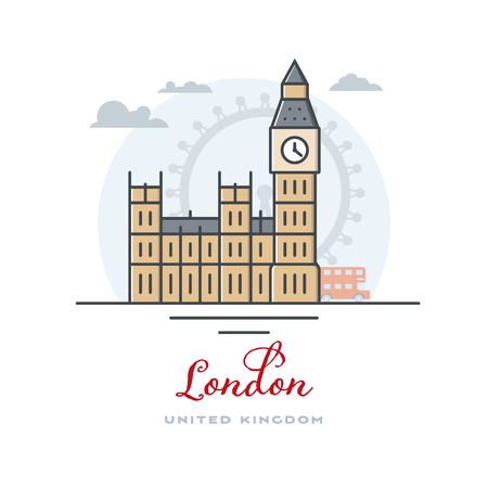 Big Ben and Westminster Palace at London, United Kingdom, flat vector illustration. Tourism and travel icon.