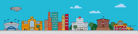 Colorful Line art cityscape vector illustration with public buildings, houses, stadium, mall and train station
