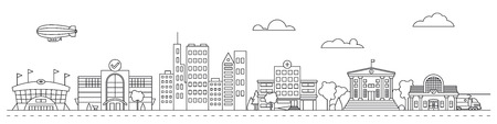 Line art cityscape vector illustration with public buildings, houses, stadium, mall and train station Illustration