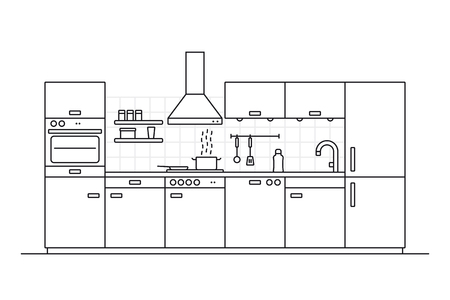 Modern kitchen interior line art vector illustration with tiled wall and cooking utensils