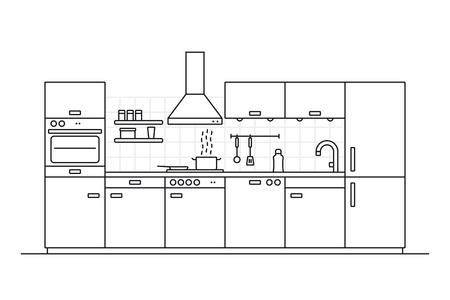 Moderna cucina interna linea arte illustrazione vettoriale con parete piastrellata e utensili da cucina Vettoriali