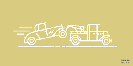 Fast tow truck with car on hook cartoon icon vector illustration