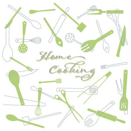Hausmannskost-Konzept-Hintergrund. Küchenutensilien-Vektor-Illustration. Text auf separater Ebene. Vektorgrafik