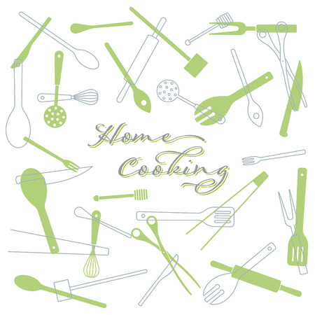 Home Cooking concept background. Kitchen utensils vector illustration. text on separate layer.