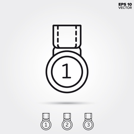 Medal for winner, second and third place. Modern line icons. EPS 10 vector illustrations.