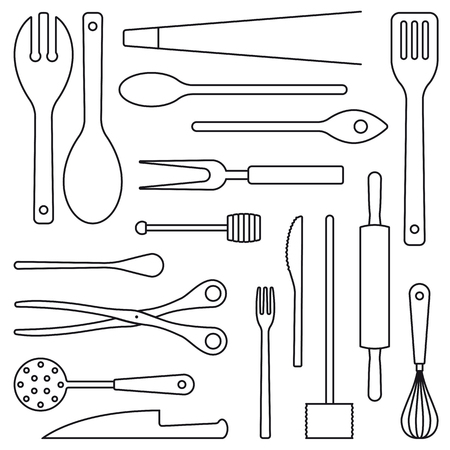 Assortment of cooking utensils outlines vector illustration