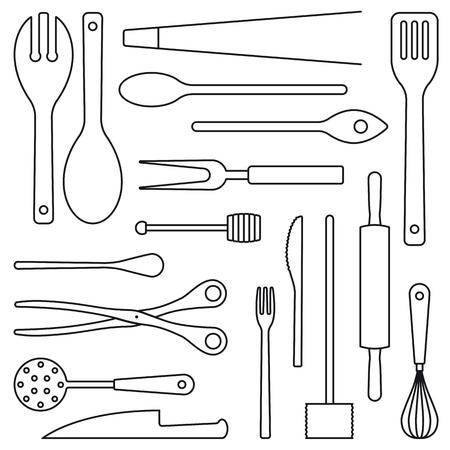 Surtido de utensilios de cocina describe la ilustración vectorial