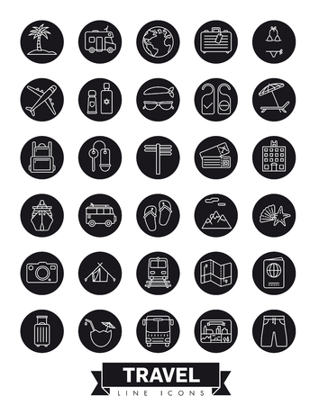 Summer holidays and global travel round black vector line icon collection Illustration
