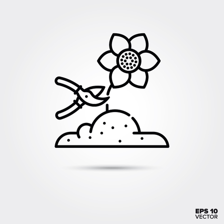 Cutting a flower with pruning shears line  icon. EPS 10 vector symbol.